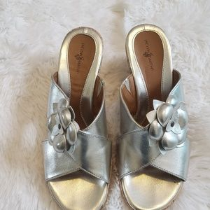 Silver wedges with cork pattern by Jacklyn Smith